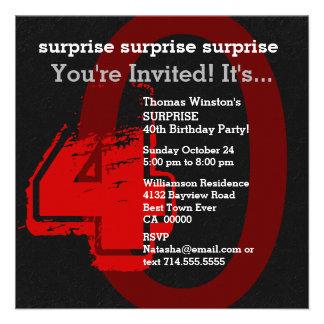 W202C2 vermelho e preto do aniversário de 40 anos Convite Personalizados