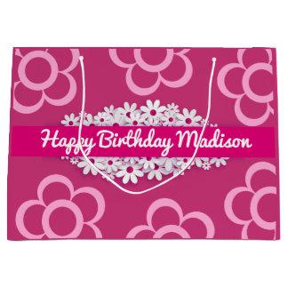 w/Daisies cor-de-rosa & feminino bonito Sacola Para Presentes Grande