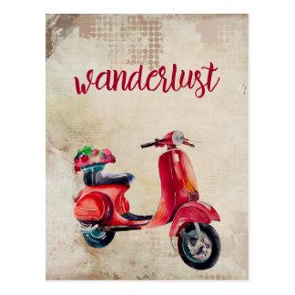 Wanderlust - Moped vermelho bonito da aguarela Cartão Postal