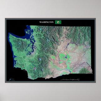 Washington do poster do satélite do espaço