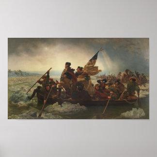 Washington que cruza a pintura de Delaware Pôster