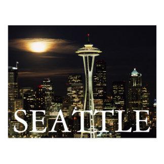 Washington, Seattle, skyline na noite do Kerry 2 Cartão Postal