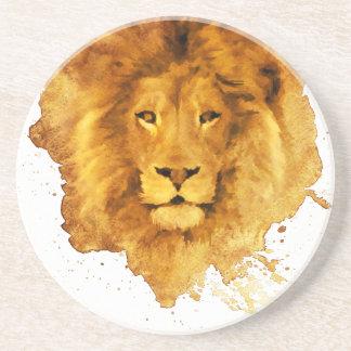 Watercolor Leão Porta-copos De Arenito