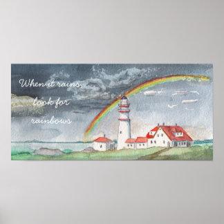 Watercolor|| quando chove, procuram arcos-íris pôster