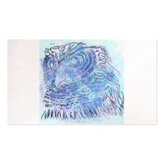 Watercolour azul da coruja cartão de visita