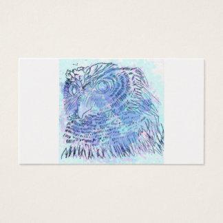 Watercolour azul da coruja cartão de visitas