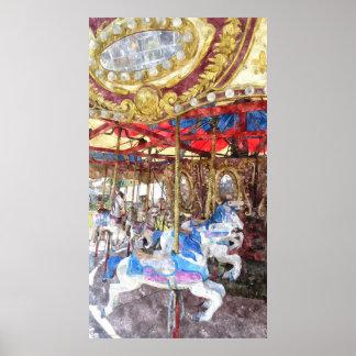Watercolour do carrossel poster