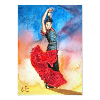Watercolour do DANÇARINO do FLAMENCO Convite 12.7 X 17.78cm