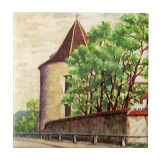 Watercolour francês do vintage, canto de A de um