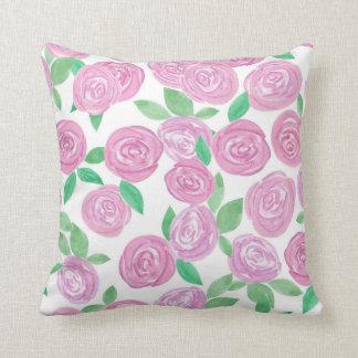 Watercolour, rosas cor-de-rosa almofada