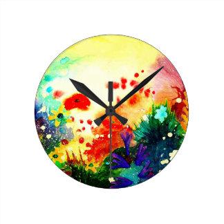 Watercolour. tropical relógio redondo