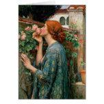 Waterhouse a alma do cartão de nota do rosa