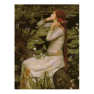 Waterhouse de Ophelia (pela lagoa) JW, arte do Cartão Postal
