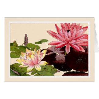 Waterlilies cor-de-rosa, cartão da arte de