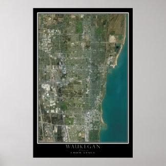 Waukegan Illinois da arte do satélite do espaço Poster