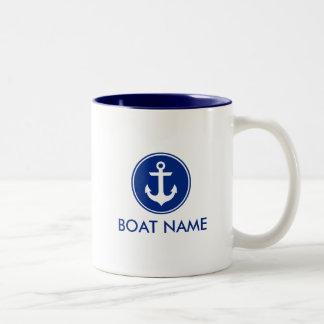 WB branca azul náutica da caneca do nome do barco