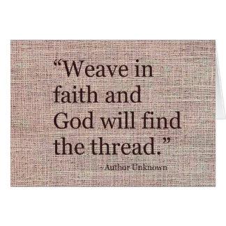 Weave no cartão inspirado da fé