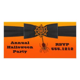 Web de aranha alaranjada & preta de Bling Cartão Com Foto