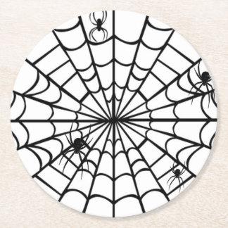 Web de aranha assustador porta-copo de papel redondo