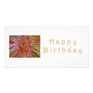 Web de aranha do feliz aniversario cartão com foto