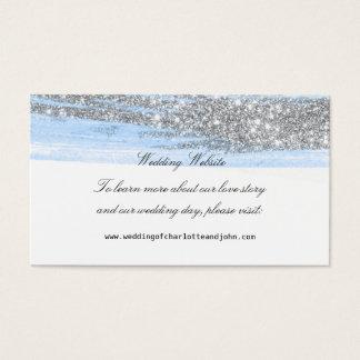 Web site delicado azul de prata do casamento do cartão de visitas