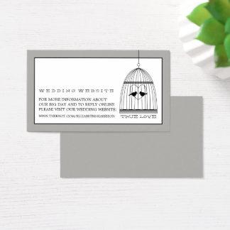 Web site do casamento do Birdcage do coração do Cartão De Visitas