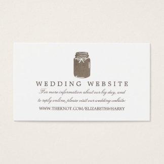 Web site rústico do casamento do frasco de cartão de visitas