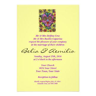 Wedding - crânio do açúcar da borboleta da flor de convites personalizado