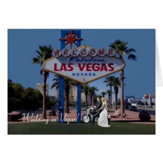Wedding em Vegas! Noiva & noivo no cartão da