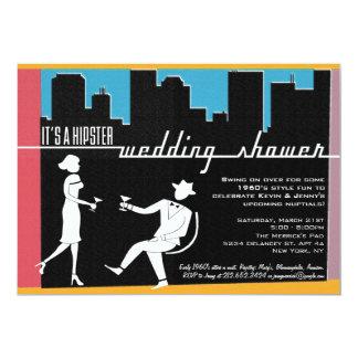 Wedding ou chá de panela dos anos 60 do hipster convite 12.7 x 17.78cm