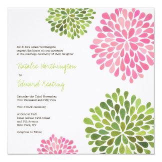"Wedding Pink & Green Flower Blooms Invitation 5.25"" Square Invitation Card"