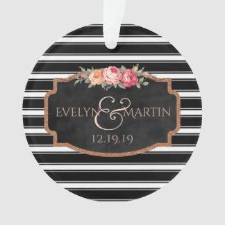 Wedding preto e branco do quadro Monogrammed Ornamento