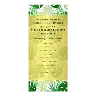 Wedding programa as folhas tropicais verdes panfleto