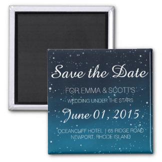 Wedding sob as estrelas salvar o AZUL da data Ímã Quadrado