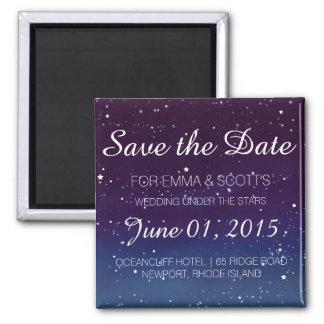 Wedding sob as estrelas salvar o ROXO da data Ímã Quadrado