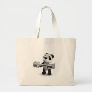Weightlifter da panda do bebê 3d sacola tote jumbo