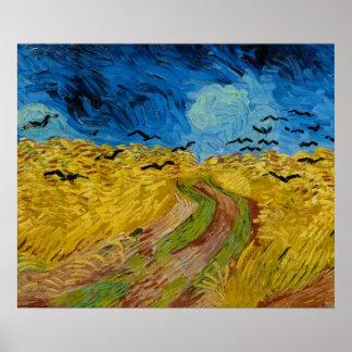 Wheatfield com os corvos pelo poster de Vincent