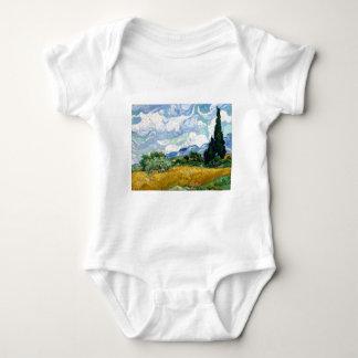 Wheatfield de Vincent van Gogh com ciprestes Body Para Bebê