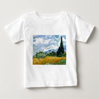 Wheatfield de Vincent van Gogh com ciprestes Camiseta Para Bebê