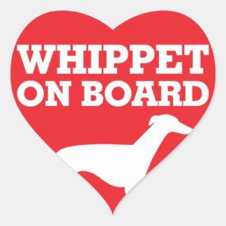 Whippet a bordo adesivo coração