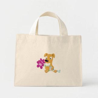 whippet e flores do bebê sacola tote mini
