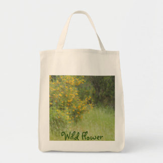 Wildflower amarelo e grama personalizable sacola tote de mercado