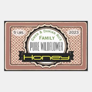 Wildflower puro frasco personalizado do mel adesivo retangular