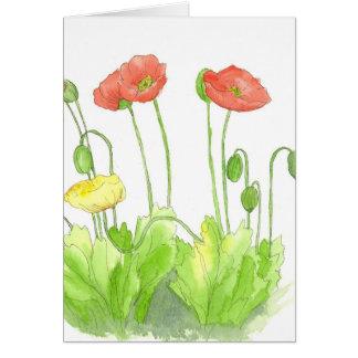 Wildflower vazio da aguarela do cartão de nota das
