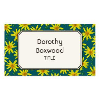 Wildflowers amarelos botânicos florais cartão de visita