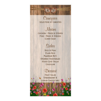 Wildflowers bonitos na madeira - menu
