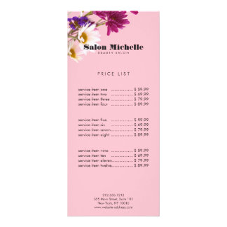 Wildflowers chiques e salão de beleza cor-de-rosa 10.16 x 22.86cm panfleto