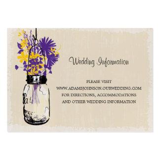 Wildflowers do frasco de pedreiro do cartão do Web Cartão De Visita Grande