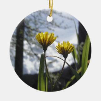 Wildflowers iluminados pela luz solar ornamento de cerâmica redondo
