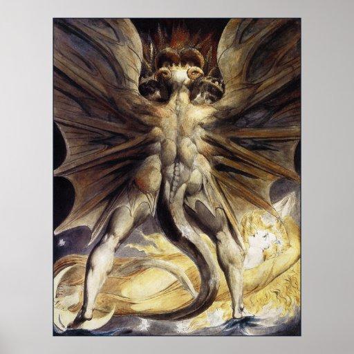 William Blake: O grande dragão vermelho Poster